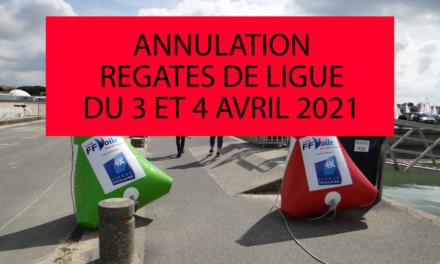 Annulation régates de Ligue des 3 et 4 avril 2021
