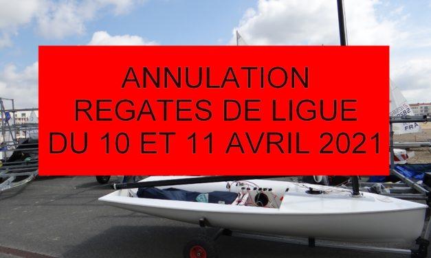 Annulation des régates de Ligue des 10 et 11 avril 2021