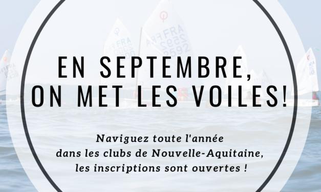 Les inscriptions sont ouvertes dans tous les clubs de Voile de la Région Nouvelle-Aquitaine, profitez-en pour prendre votre licence !