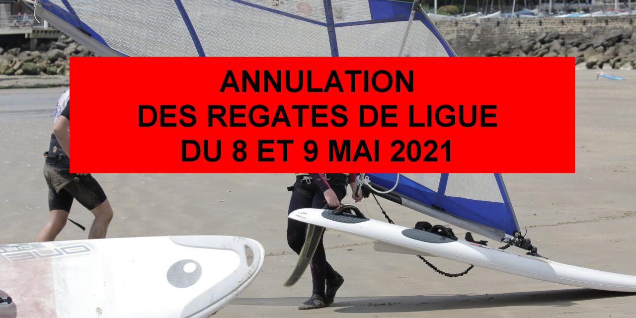 Annulation des régates de Ligue des 8 et 9 mai 2021